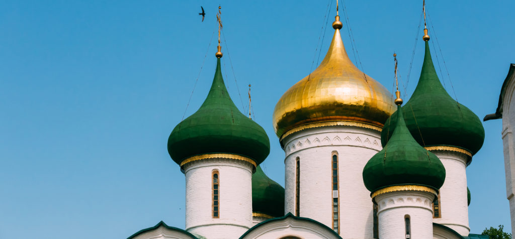 The Space-Evfimiyevsky Monastery. Close up of Transfiguration Cathedral in Monastery of Saint Euthymius in Suzdal, Russia.