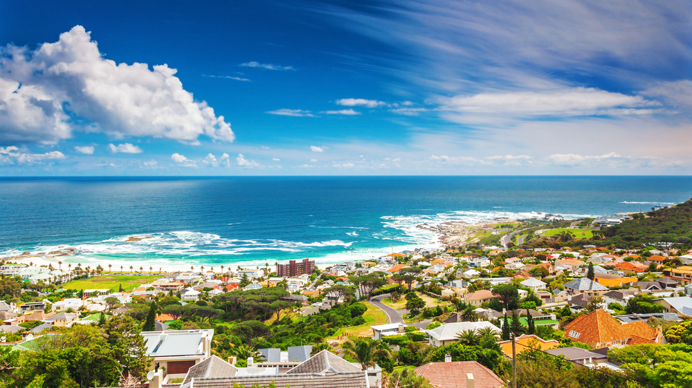 Seaside of Cape Town, beautiful coastal city in the Africa, panoramic landscape, modern buildings, travel and tourism concept