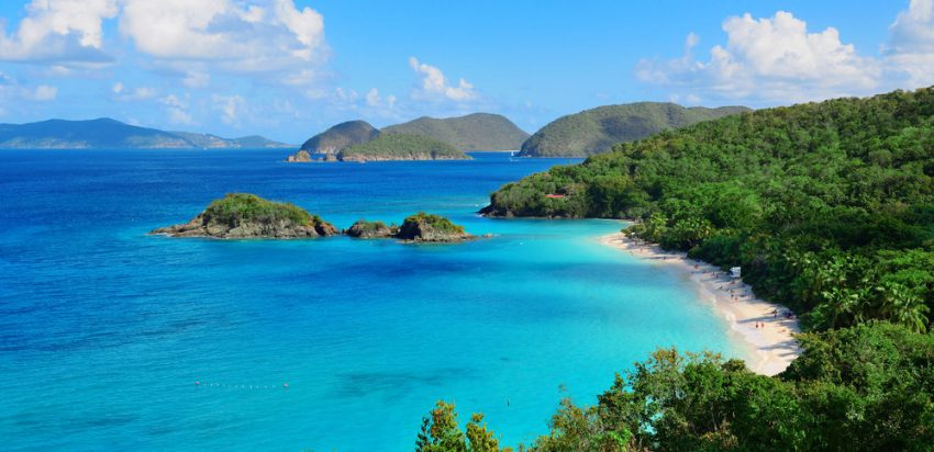 Island Destinations: U.S. Virgin Islands. Colorful beach in St John, Virgin Island.