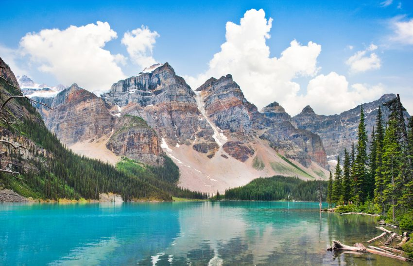 Alaska. Beautiful landscape with Rocky Mountains and famous Moraine Lake