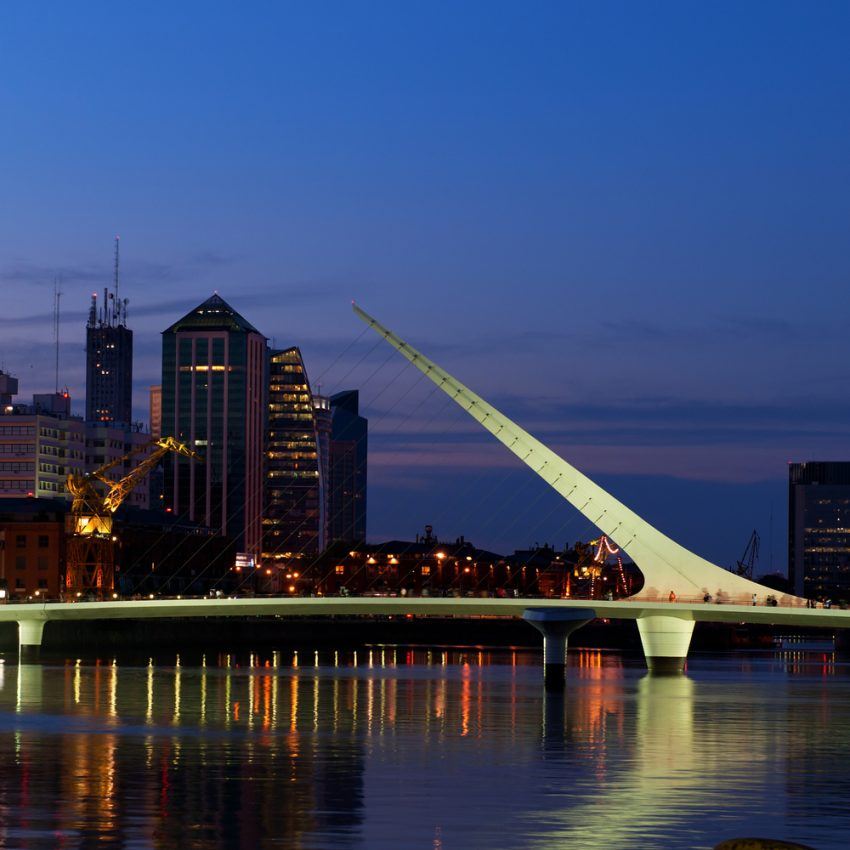 Explore Chile & Argentina (8 Days). Puerto Madero neighbourhood at Night, view, Buenos Aires, Argentina. Woman's bridge.
