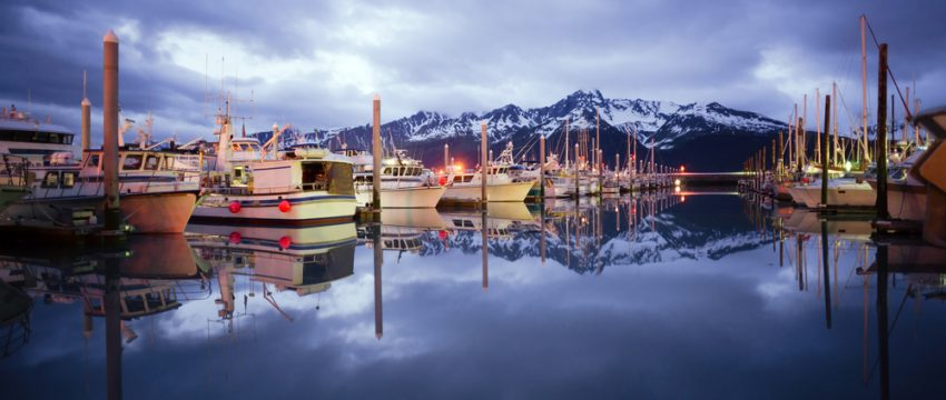 Alaska. Boats on Smooth Resetrection Bay Seward Alaska Harbor Marina