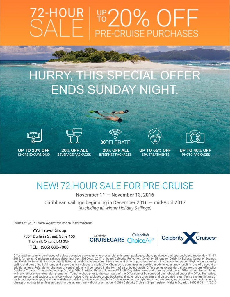 NEW! 72-HOUR SALE FOR PRE-CRUISE