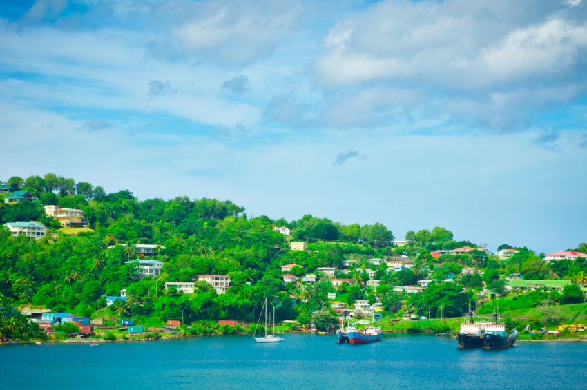 The islands of the Caribbean Sea. Beautiful view of Saint Lucia, Caribbean Islands