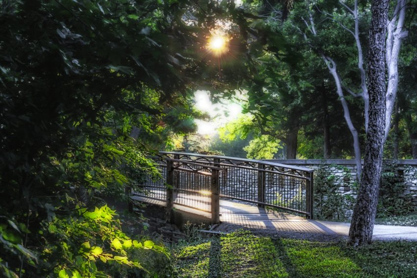 How To Travel Sustainably. Path over Minnehaha Creek at Lake Nokomis in Minneapolis Minnesota Reveals Summer Urban Forest