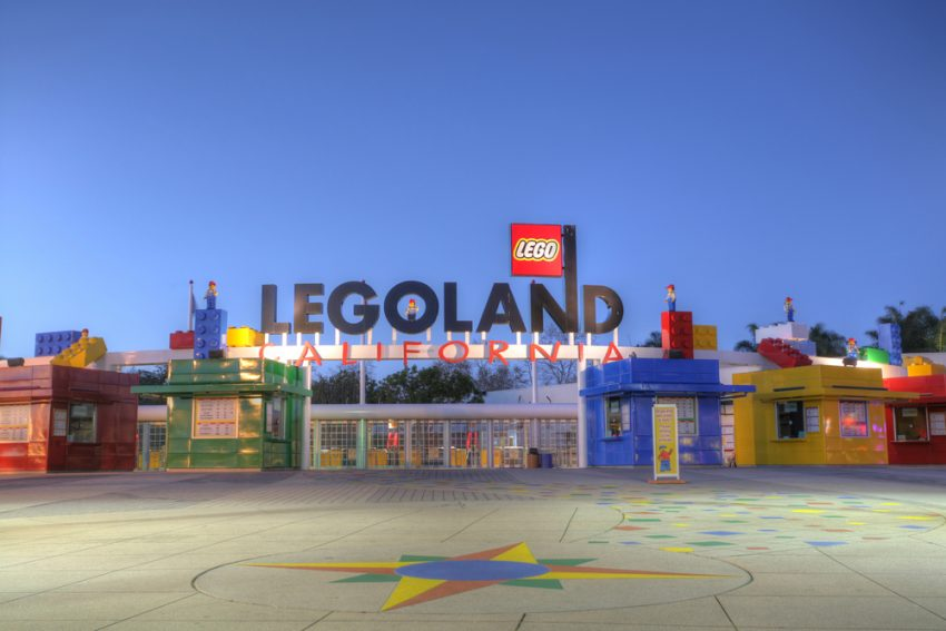 Where to Travel with Your Kids Before they Grow Up. CARLSBAD, CA - FEB 5: Legoland California in sunset, February 5,