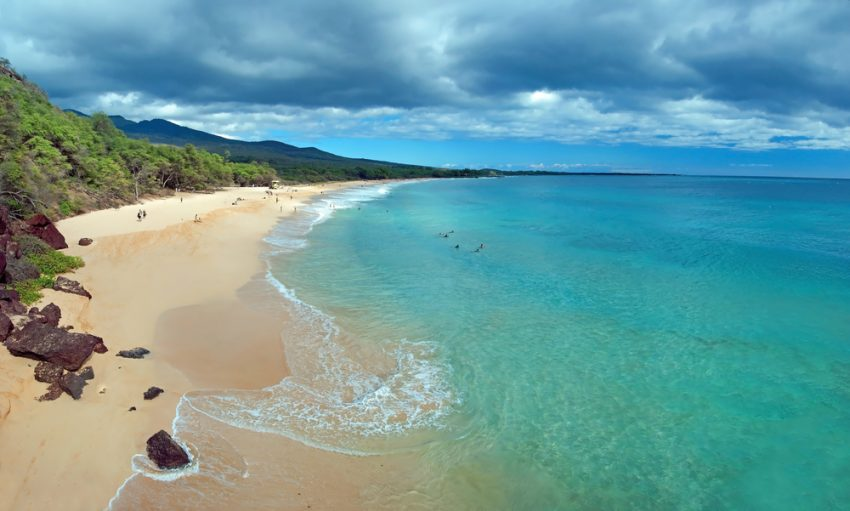 Sunny Winter Escapes. Part 1. Beautiful view of Big beach on maui hawaii island with azure ocean