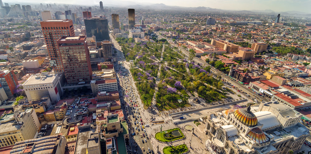 Photo: depositphotos.com. An aerial view of Mexico City and the Palace of Fine Arts