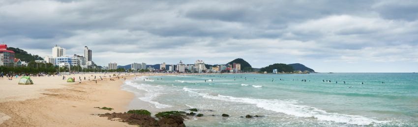 Top Sights in Busan. Landscape of Songjeong Beach