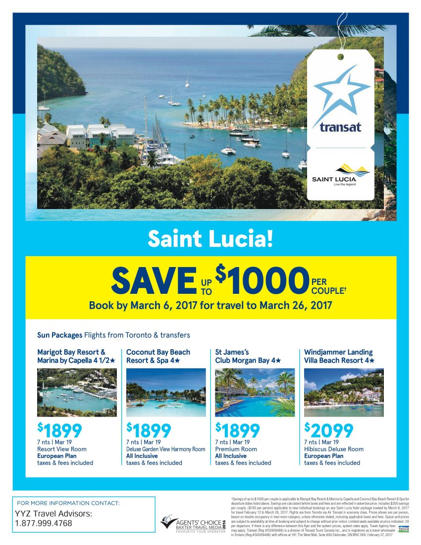 Saint Lucia! Save up to $1000*
