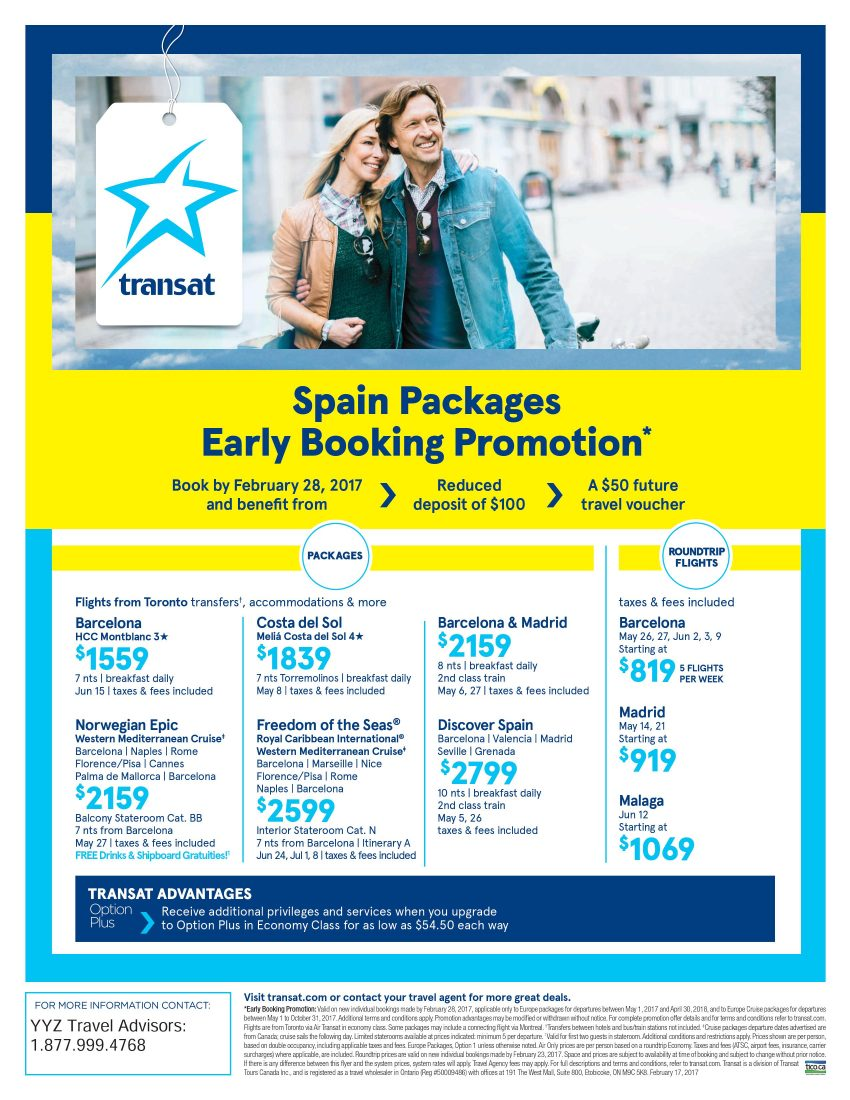 Spain Packages. Early Booking Promotion
