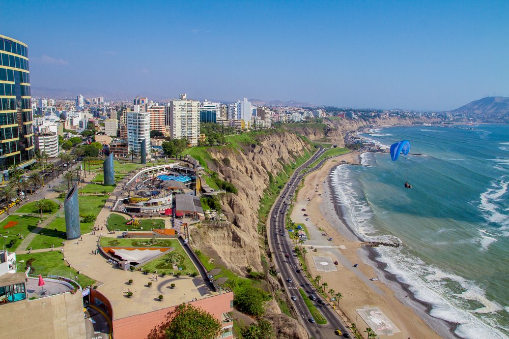 Why Peru Should Be your Next Travel Destination. Aerial view of Miraflores Park, Lima - Peru
