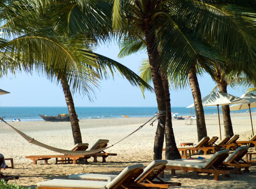 Holidays in Goa, India. Perfectly beautiful beach Palolem in Goa in India