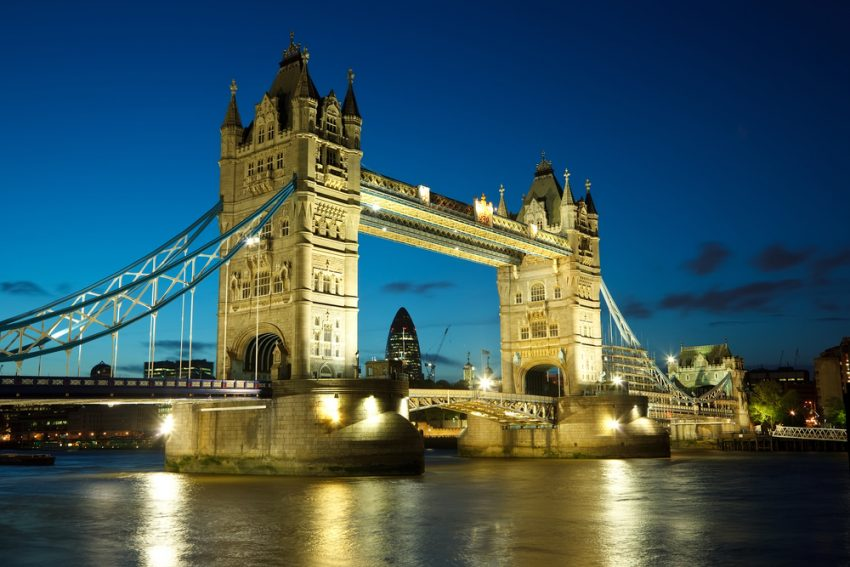 Cosmopolitan Cities. Tower Bridge from the North Bank at dusk, London, UK.