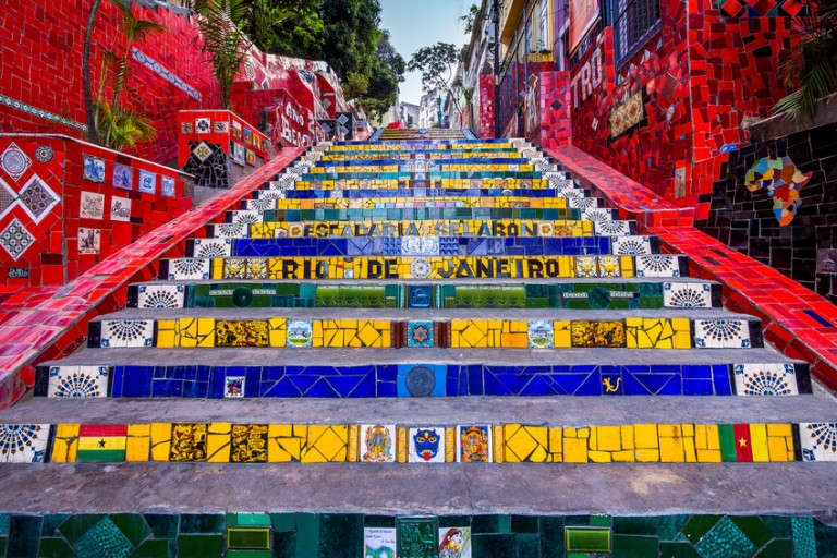 The Selaron Staircase is one of the hidden treasures in Rio de Janeiro, with more than 2,000 colorful tiles from over 60 countries.