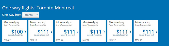 Domestic Flight Deals Within Canada