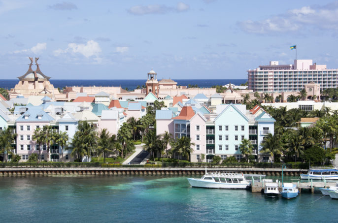 The Reef Atlantis: Dolphins and a Dining Credit. The skyline of of Paradise Island resorts in The Bahamas.