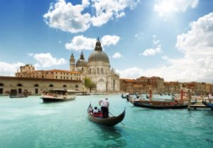 Fly Away For Free Contest. Grand Canal and Basilica Santa Maria della Salute, Venice, Italy.