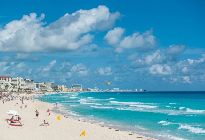 Sun For All Event. Cancun beach panorama, Mexico.