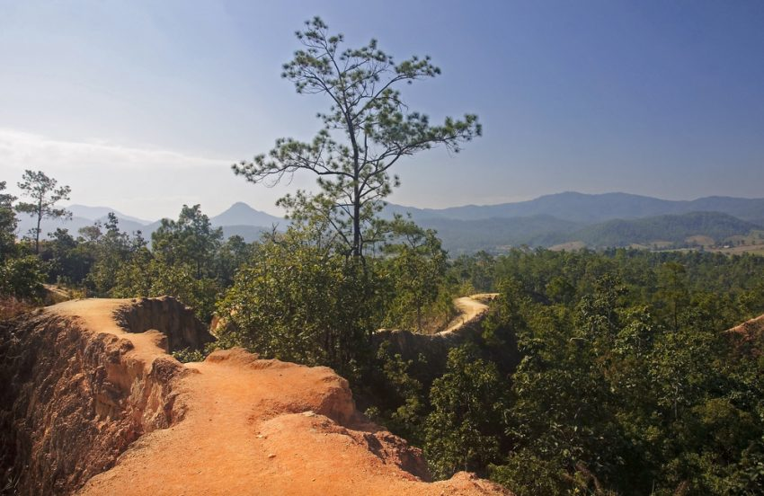 Hidden Gems of Thailand. The narrow path on a steep slope in Pai Canyon - Thailand.