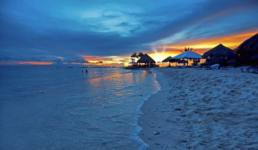 Tips for Visiting Curaçao. Sunset at the beach on the Caribbean island, Curacao.