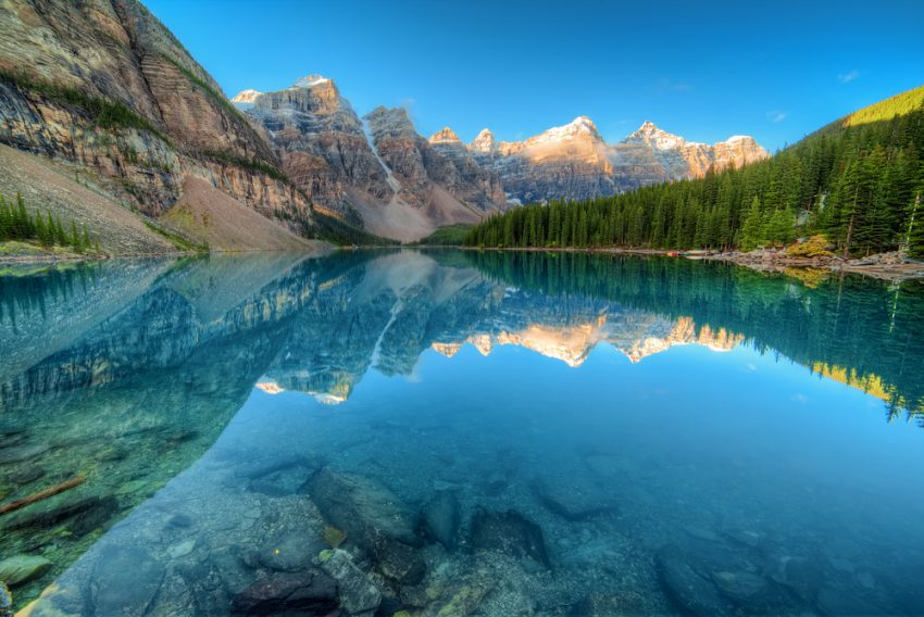 Peak Inspiration Discover the Canadian Rockies by rail. Moraine lake in Banff National Park, Canaga, Valley of the Ten Peaks.