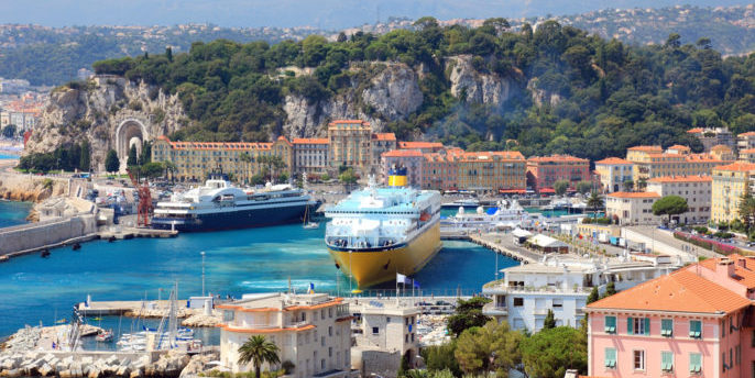 Selected Mediterranean Voyages. Beautiful harbor od Nice with big cruise ships, France, Europe. Cote D'Azur.