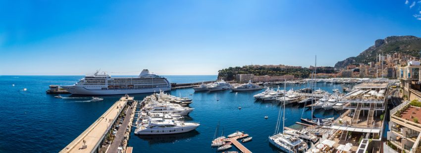 Selected Mediterranean Voyages. Panoramic view of Monte Carlo in a summer day, Monaco.