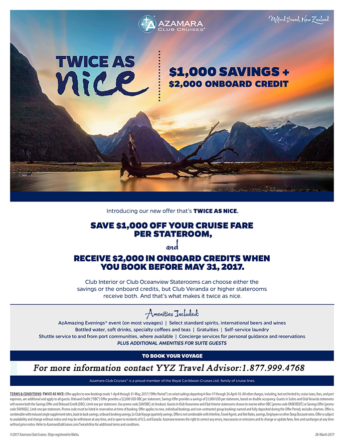 Twice as Nice! $1,000 Savings + $2,000 Onboard Credits