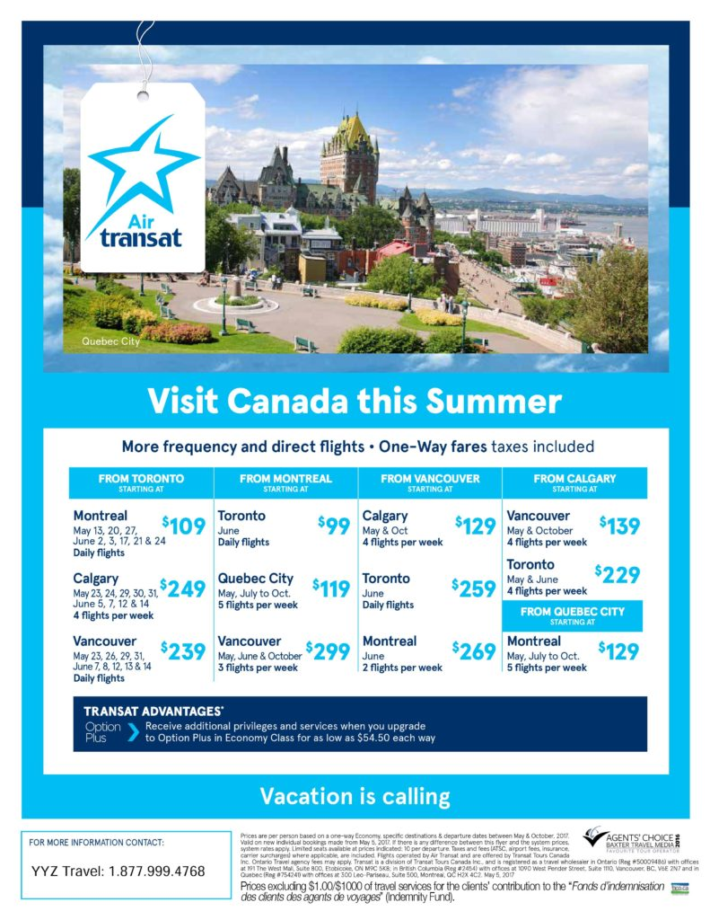 Direct Flights This Summer! Travel Canada