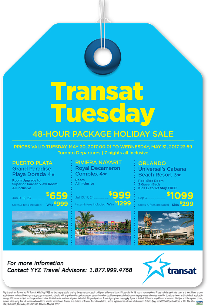 Don't Miss Transat Tuesday Sale