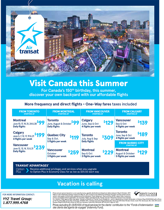 Affordable Flights! Visit Canada this summer!