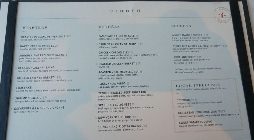 Crafting Royal Caribbean's Main Dining Room Menu