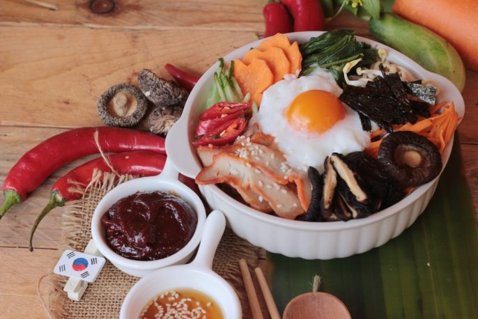 What to Eat in Seoul. Bibimbap korean food is delicious on wood background