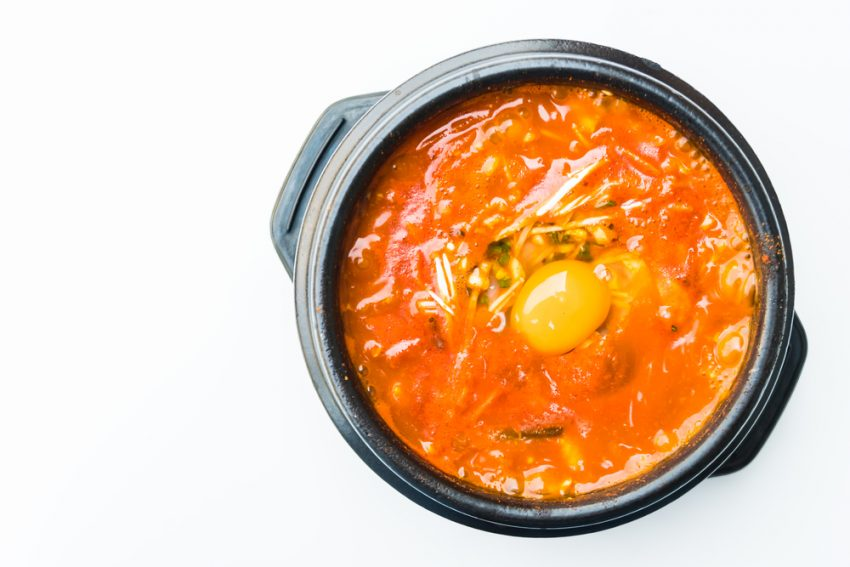 What to Eat in Seoul. Korea spicy soup in black bowl