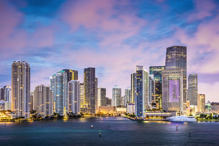 Most Popular US Tourist Cities. Skyline of Miami, Florida, USA at Brickell Key and Miami River.