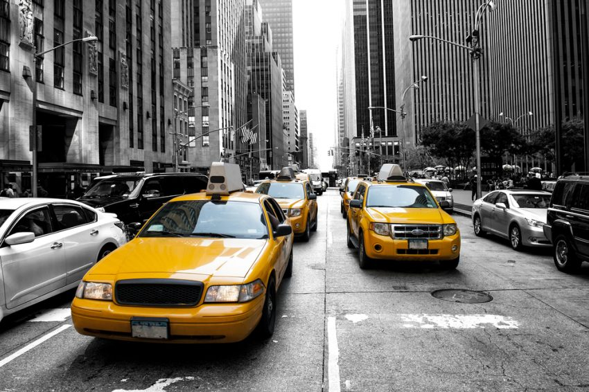 Most Popular US Tourist Cities. Yellow taxi in a Black and White New York