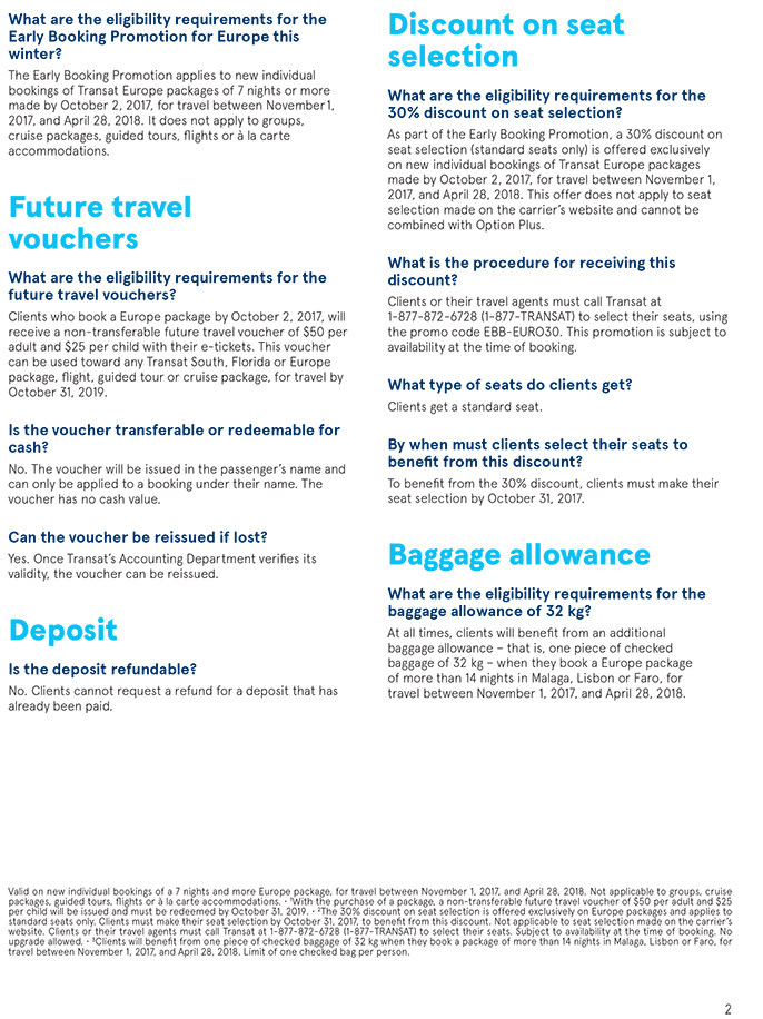 Transat Promotion - Travel to Europe This Winter