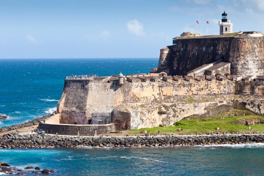 Cheap flights to Puerto Rico. The edge and coastline of the El Morro Castle in San Juan, Puerto Rico