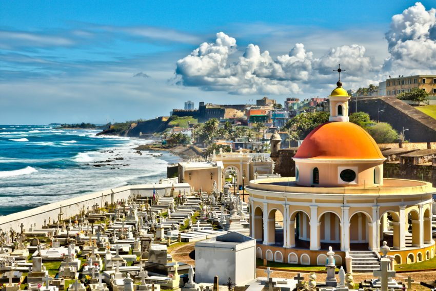 Cheap flights to Puerto Rico. View of the coast from the cemetery at Old San Juan, Puerto Rico.