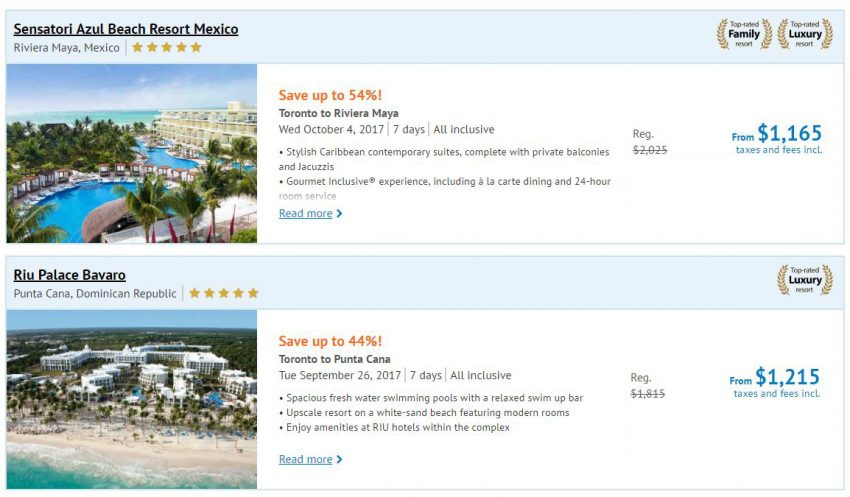 Luxury Sunwing Vacations