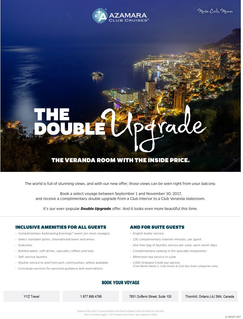 The Double Upgrade: Azamara Club Cruises