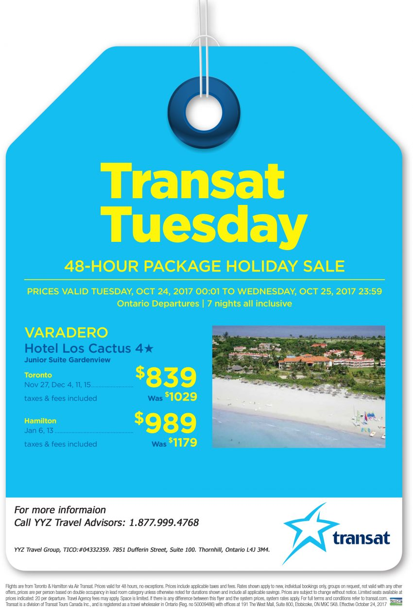 Varadero: Transat Tuesday Promotion
