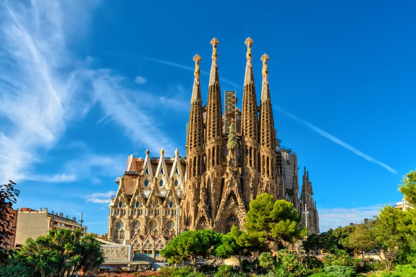 Top Vacation Destinations in Spain. Cathedral of La Sagrada Familia