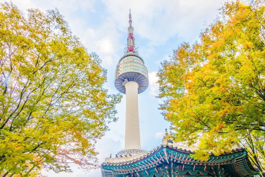 The Beauty of Seoul in Autumn. Seoul tower in Seoul city