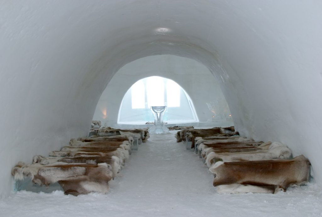 The Most Unusual World Hotels. Church and chapel of Ice Hotel near Kiruna, Lapland, north Sweden
