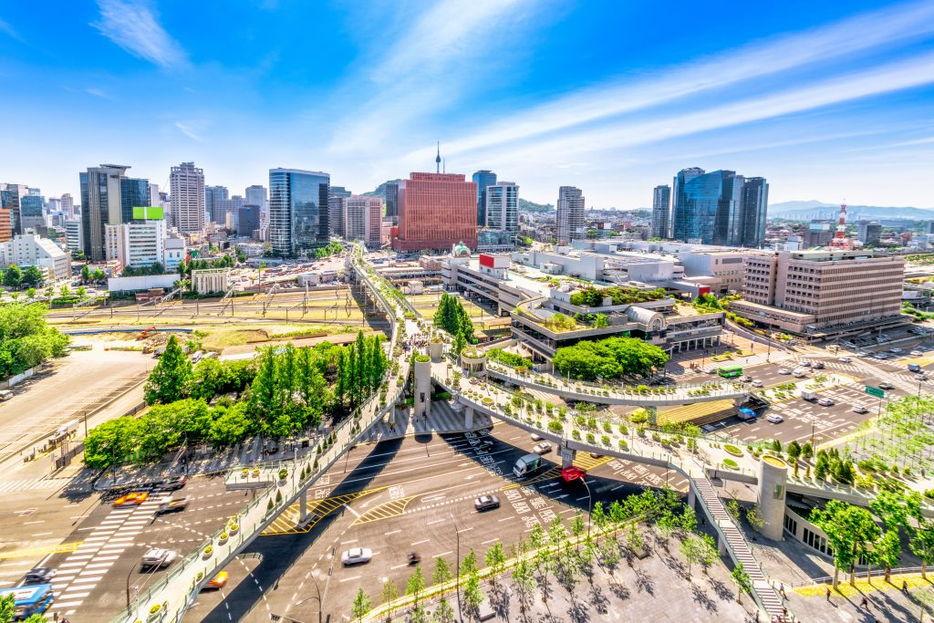 Top New Attractions in the World. Aerial view of road 7017 and architecture in Seoul Station, Seoul City South Korea
