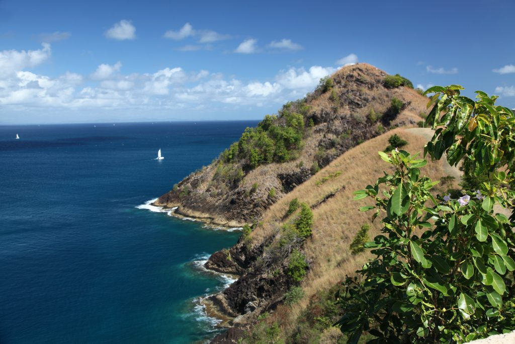 Guadeloupe – Pearl of the Caribbean. Pigeon island, St. Lucia from the British fort. This island is st. Lucia's national park