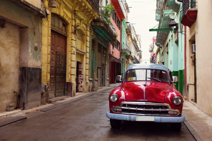 New Year in Havana: Classic old car on streets of Havana, Cuba