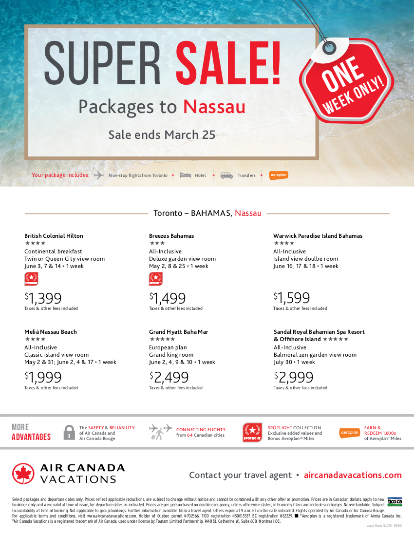 Super Sale! Packages to Nassau